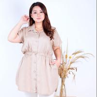 Blouse Big Size Wanita LD 110 Atasan Baju Kerja Karet Pinggang Rebecca - Coksu