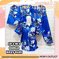 Hoky.Outlet Piyama 3 in 1 Baju Tidur Motif Bunga Manohara/Fit to XL - Biru, all size