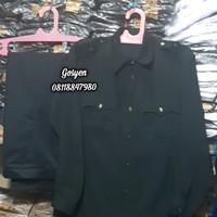 seragam safari/baju safari lengan panjang/baju security/ Grade B - Hitam, M