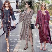 vintage bohemian dress midi baju wanita pantai korea import xl jumbo