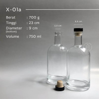 Botol kaca 750ml liquor bottle - tutup cork
