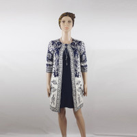 Dress Batik Wanita - Midi Dress Lengan Panjang Model Long Blazer Navy