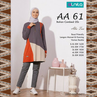 Baju Atasan Alnita AA 61 Abu Tua Kaos Katun Muslimah Olahraga Cantik