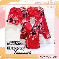 Hoky.Outlet Piyama 3 in 1 Baju Tidur KIMONO Bunga Manohara /Fit to XL - Merah, all size