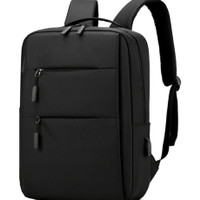 Black Backpack Tas Laptop/Ipad/notebook/gadget USB Charger Connection - Hitam