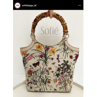 Pre❤️Gucci Bamboo Floral Canvas with Leather Trim Shoulder Bag