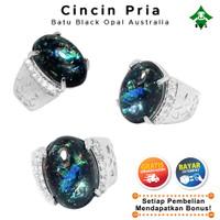 [Bayar Di Tempat] BOS Cincin Pria Batu Akik Black Opal Jarong Dewasa - 7