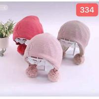 TP107 topi anak bayi 0-2 tahun kupluk pompom bulu rajut baby RAJUT