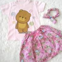 Setelan Baby Cewek Rok dan Bando Pita Setelan Harian Baby Set Rok Baby