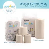 Wateru Natural Bamboo Tissue - 1pack Toilet 6R+ 1pack Kitchen 2R