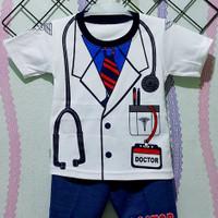 Setelan Baju Anak Bayi Sablon Motif Dokter Usia 0-12 Bulan