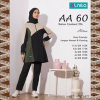 Baju Atasan Alnita AA 60 Hitam Blouse Kaos Katun Muslimah Olahraga Ori