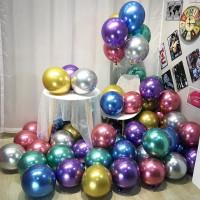 Balon Latex Chrome 12 inch double metalik mengkilat balon ulang tahun