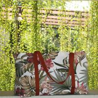 Tas Belanja Kanvas Besar / Tote Bag Kanvas Motif Bunga Sepatu Merah
