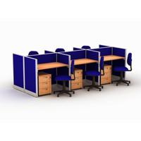 Meja Kerja Partisi Kantor Work Station Ruang Kerja Cubicle 6 Orang
