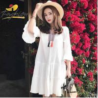 DRESS PAKAIAN WANITA MAYRIN ETNIC IMPORT WHITE | X368