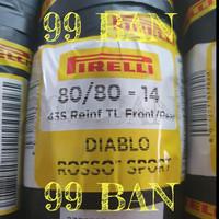 PIRELLI DIABLO ROSSO SPORT 80/80-14, TUBELESS, BAN MOTOR MATIC VELG 14