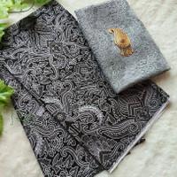 Kain batik cirebonan silver set brukat