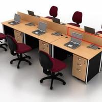 Meja Kerja Staff Kantor Utama Workstation 6 Orang Eksekutif