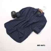 kemeja flanel planel flannel pria blue & hitam