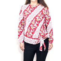Baju atasan blouse batik wanita lengan panjang u/ muslimah terbaru