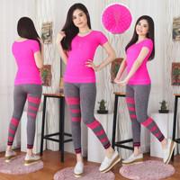 setelan baju olah raga wanita-setelan baju fitness-setelan olah raga - Merah Muda