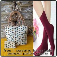 tas wanita / tote bag wanita kanvas free 1 pasang kaos kaki jempol