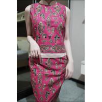 Preloved baju batik second dress set cheongsam bekas atasan rok pink