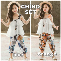 BAJUKIDDIE CHINO SET baju setelan anak cewek casual model korea import - Blue, Size 160