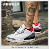 Sepatu Original Nike air Jordan 3 Retro Fire Red Denim BNIB