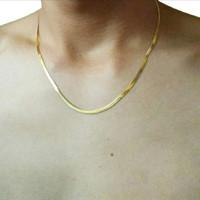 Kalung pria titanium stainless 316L pipih slim gold emas exclusive