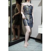 Preloved baju batik / second hand dress / tanktop rok set bekas biru