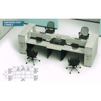 Meja Kerja Staff Kantor Workstation Sekat 4 Orang Laci & Lemari Arsip