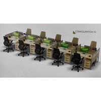 Meja Kerja Staff Admin Kantor 10 Orang Cubicle Partisi Sekat set