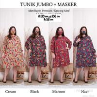 atasan baju wanita tunik motif free masker super jumbo ld 130