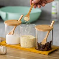 Set Toples Bumbu Kaca Tutup Kayu Seasoning Glass Jar