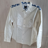 Kemeja Armani Exchange Long Sleeve White Blue Original