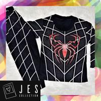 Baju setelan panjang anak laki-laki spiderman hitam 1-10 Tahun
