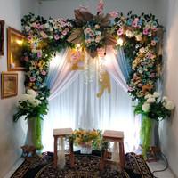 sewa backdrop pernikahan premium / full flower dan rustic 2.2meter