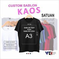 Sablon Print Cetak Kaos Satuan Lusinan Custom Combed 30s - S, A5