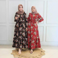 baju muslim wanita terbaru murah gamis niva maxi motif bunga
