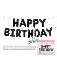 balon foil HBD set HITAM / balon Happy birthday HITAM / balon Huruf