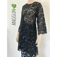 Baju Tunik Panjang Brokat Black Flowers Premium