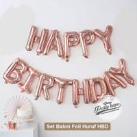 balon foil HBD set rose gold / balon Happy birthday rose / balon Huruf