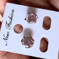 Anting wanita titanium Permata Crystal swarovsky Pink Muda