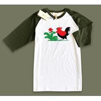 Baju Kaos Raglan TShirt desain Mangkok Ayam