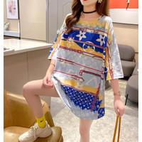 kaos t shirt oversized / cute Monokrom Oblong Panjang Korea