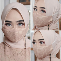 Masker Hijab Masker Motif Elegan Bahan Brukat (Headloop)