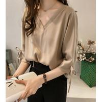 Kemeja Slim V Wanita Model Korea Oversized Hem Baju Atasan