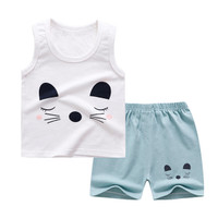 Baju Setelan Santai Katun Tanpa Lengan Motif Kucing Anak Perempuan